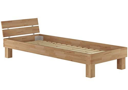 Erst-Holz® Einzelbett in Überlänge 90x220 Buche Massivholzbett Jugendbett Singlebett Rollrost 60.86-09-220