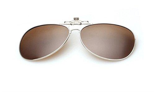 UK1stChoice-Zone Unisex Sonnenbrillen Polarisierte Flip-up Klipp auf Sonnenbrille Gläsern Brille Sun-ClipON0001 (Braun)