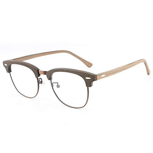 DING-GLASSES Gläser Teller Gläser Retro literarischen Rahmen Halbrahmen Holzmaserung Brillengestell Myopie Männer und Frauen Gläser (Color : Black Frame Brown Legs)