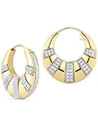 Mezzon simero redondo brillante corte blanco de imitación Diamante Oro Amarillo De 14Quilates Compromiso Boda Novia Aniversario aro pendientes