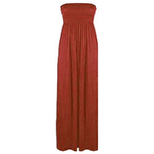 Neuf Pour Femmes Sans Manches Bandeau Bandeau Maxi femmes Fin Long robe RU 8-26 Marron - Rouille
