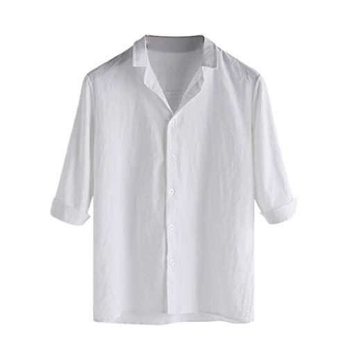 T.boys 3/4 Hawaiihemd Strandurlaub Leinenhemd Herren Hemd Aloha Kurzarm Hawaii Hemd Leicht Regular Fit Freizeithemd