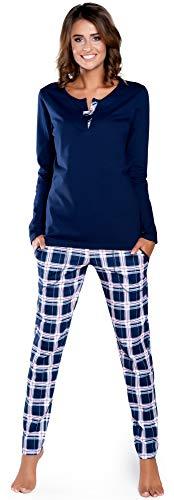 Italian Fashion IF Pijama Conjunto Camiseta y Pantalones Ropa de Cama Mujer IFS18015 (Azul Oscuro, M)