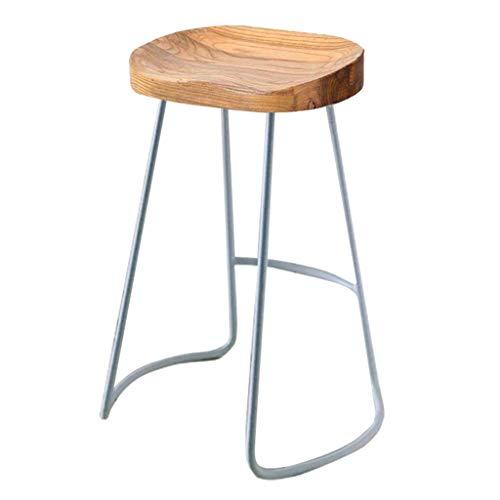 CKYZ Barhocker Retro Metall Beine Design Esszimmerstuhl Holz Top Küche Restaurant Bar Barhocker Sitzhöhe: 45/65 / 75CM (Farbe : Silver Leg, größe : 65cm)