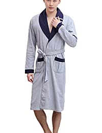 Bata de baño para Hombre, Manga Larga, algodón, Pijamas Largos, Hombres,