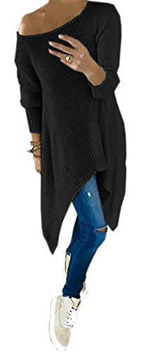 Mikos Damen Langarm Shirt Rundhals Strickpullover Ausschnitt Assymetrische Form Shulterfrei Sweatshirt (659) (Schwarz)