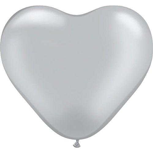 partydiscount24 10 Riesen-Herzballons - Ø 40 cm Silber