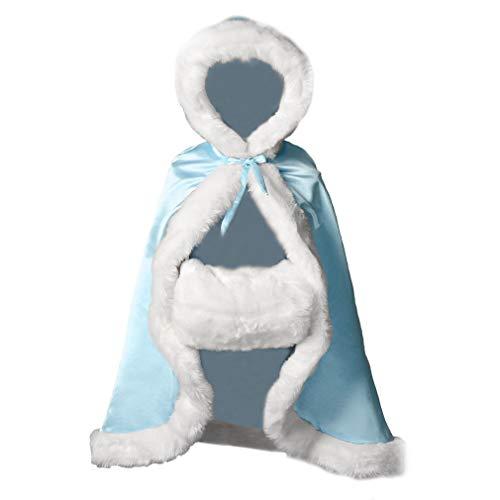 BEAUTELICATE Umhang Kinder Cape Mit Kapuze Winter Warm Kunstpelz Für Hochzeit Weihnachten Halloween Blumenmädchen Junge Hell blau 38 Inch