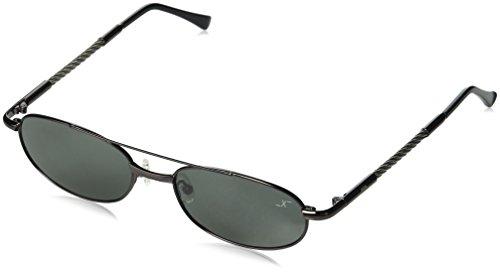 Xezo UV400Titan & Stahl Kabel Draht Polarisierte Vintage Sonnenbrille, Dark grau metallic, 0,9oz