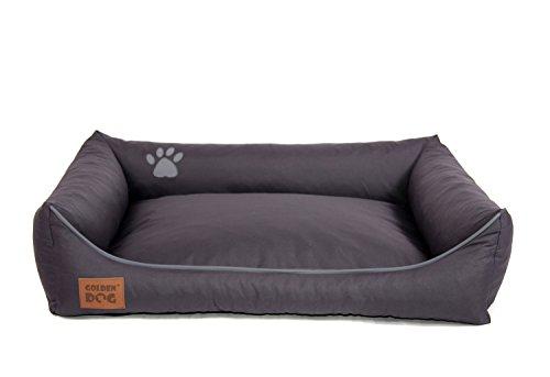 Golden Dog Hundebett Hundesofa Hundekissen Abnehmbarer Bezug Pflegeleicht abwaschbar Dunkelgrau L 90x70cm