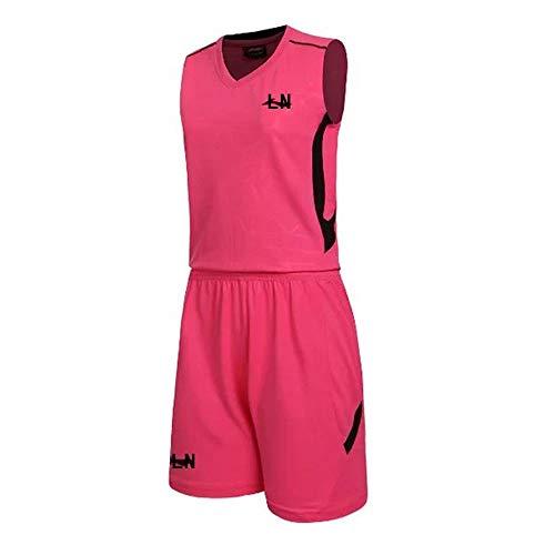 Pink Team Gehen Kostüm - 3Er Pack Basketball Anzug, Athletic Mesh Basketball Trikots Set 2 Stück Trikots Und Shorts,Rosa,XXXL