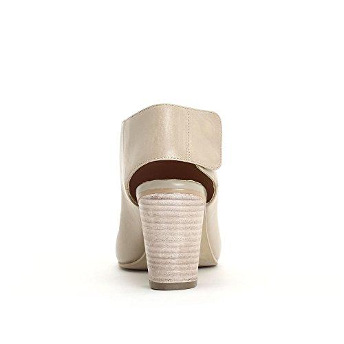 ALESYA by Scarpe&Scarpe - Bottines hautes ouvertes devant, en Cuir, à Talons 7 cm Beige