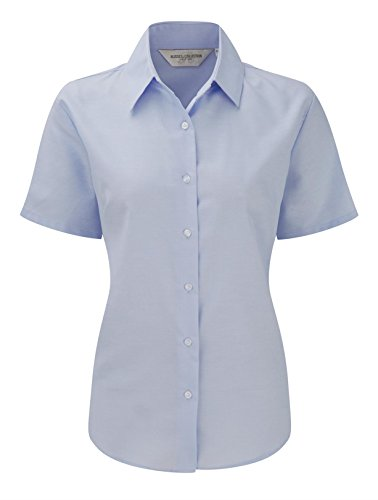 Russell Collection Womens Easycare Oxford Short Sleeve Shirt Bleu Oxford