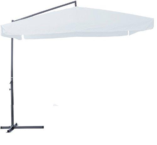 Garden friend ombrellone 3x3 x 3h mt braccio laterale. struttura in acciaio. con manovella. copertura in poliestere 180 gr/m² colore bianco.