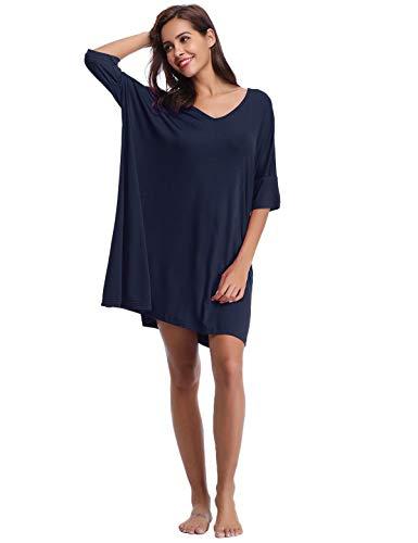 Abollria Damen Nachthemd Loose Fit Nachtwäsche Nachtkleid Kurz Baumwolle Schlafshirt O-Ausschnitt Rock Schlanke Nachtwäsche Sleepshirt Kurzarm für Sommer, Marine, XL -
