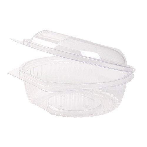 BIOZOYG 100x Bols Salade Bio jetables | Coupelle Couvercle Rabattable | 750ml, Rond | plast. Bio PLA | 100% biodégr. Compost. | Recyclable | sans prod. chim. | sans pétrole | transp.