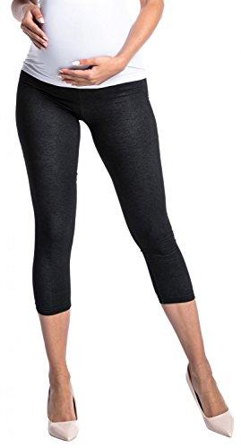 Zeta Ville -Umstands Leggings 3/4 Hose elastische Bund Denim-Look - Damen - 977c Schwarz & Jeans