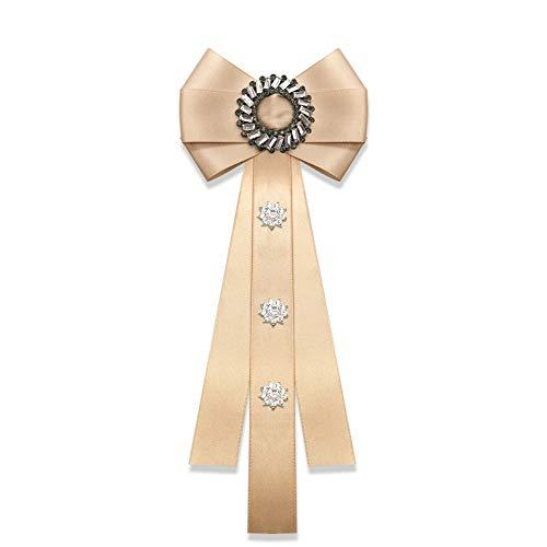 auvwxyz. Broschen Hemd Fliege weibliche Krawatte Uniform Bogen College Wind England kleine frische professionelle Pin Kragen Blume, Champagner Farbe Pin