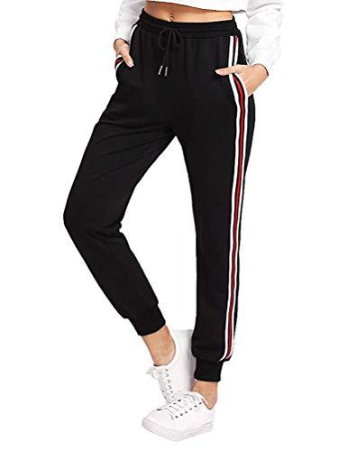 OranDesigne Damen Sporthose Streifen Freizeithose Jogging Hose Traininghose Fitness High Waist Lang Baumwolle B Schwarz 2X-Large
