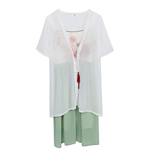 Green Tanz Kostüm - YCWY Plusgröße Hanfu für Frauen, Weinlese gesticktes chinesisches Kleid für Parteifeiertag, Fotoaufnahmekleidung Tanz-Kostüm-Blumendrucken 2-teiliges Set,Green,XXXL