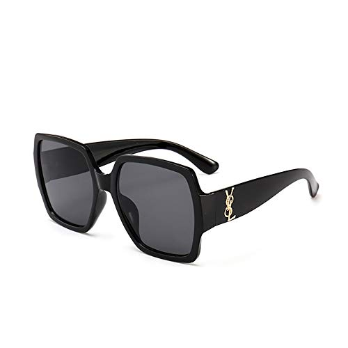 DFBUB Brillen Europa und Amerika Mode wilden großen quadratischen Sonnenbrillen, schwarzer Rahmen alle grau