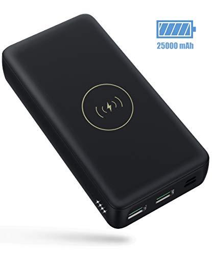 Jacess Power Bank 25000mAh Hohe Kapazitat Wireless Charger Tragbares Ladegerät PD Schnellladung, Black