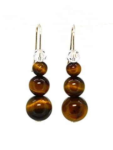 4LG (Live Love Laugh be Lucky) Natural Brown Tiger's Eye & Crystal Silver Earrings Wild Leopard Positive Attitude