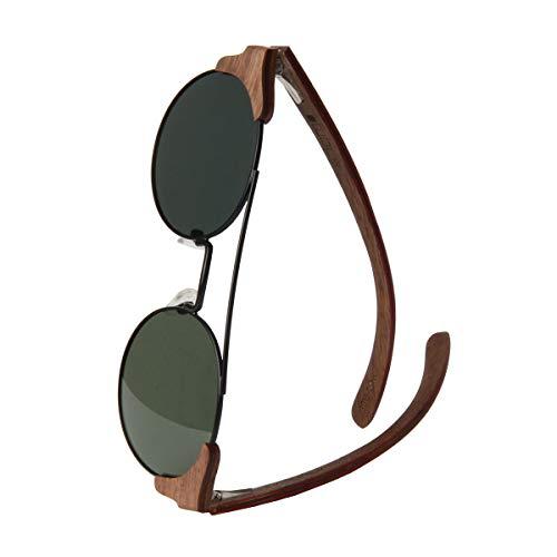 WOLA Damen Herren Sonnenbrille Holz FEU Brille rund mit Metallrahmen polarisiert UV400 Nussholz Unisex Damen M - Herren S