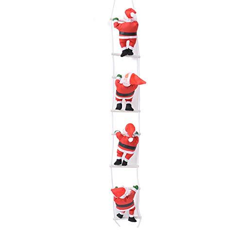 Facblcrew babbo natale sulla scala 100cm decorazione natalizia, illuminato babbo natale su una scala