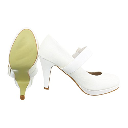 High Heel Damenschuhe Plateau Pfennig-/Stilettoabsatz High Heels Ital-Design Pumps Creme