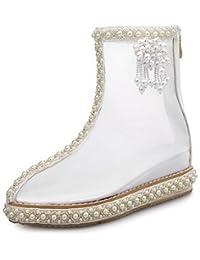 RTRY Zapatos De Mujer Net Primavera Otoño Comodidad Transparente Moda Zapatos Botas Botas Tacón Pequeño Cordón Perla Para Parte &Amp; Traje De Noche Blanca Blanca Us6.5-7 / Ue37 / Uk4 5-5 / Cn37