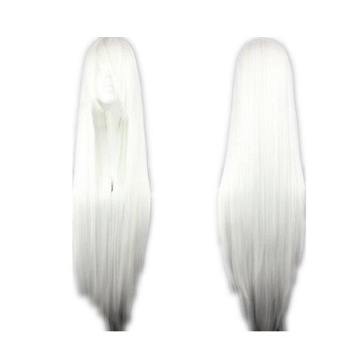 COSPLAZA Cosplay Wigs Kostueme Peruecke lang gerade Anime Show Fasching Karneval Haar 80cm Weiss