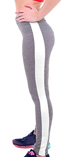 U-shot Femme Taille Empire Fitness Sports Pantalon Stretch Casual Leggings Gris clair + Blanc