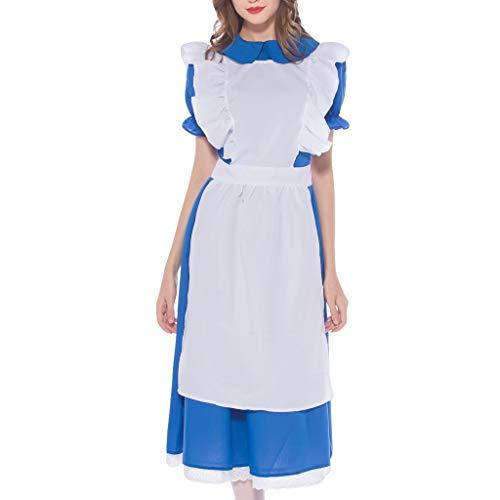 Schürze Kostüm Blau - Frauen Kurzarm Dirndl Oktoberfest Blau Kostüm Bayerisches Bier Weiß Schürze Tavernenkleid Damen Maid Kostüm Bier Madchen inkl.Kleid,Kopfbedeckung, Schürze