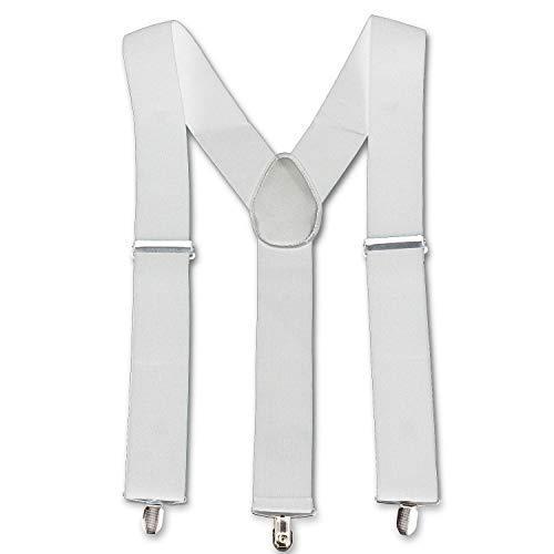 Trimming Shop Unisexe Élastique Bretelles Forme Y Uni Bretelles Réglables avec Forte Métal à Clipser pour Pantalons, Jean, Pantalon, 50mm - Blanc, One