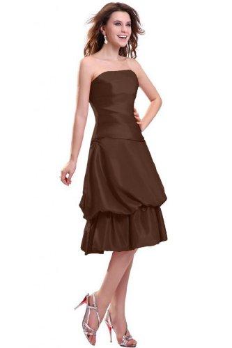 Lemandy robe de soirée taffetas gradins sans bretelles longueur mollet Marron