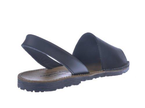 Sandales Tout Cuir Unisexe Menorquinas mod.201. Chaussures Made in Spain Produit de Qualité. Blanc Cassé - bleu marine