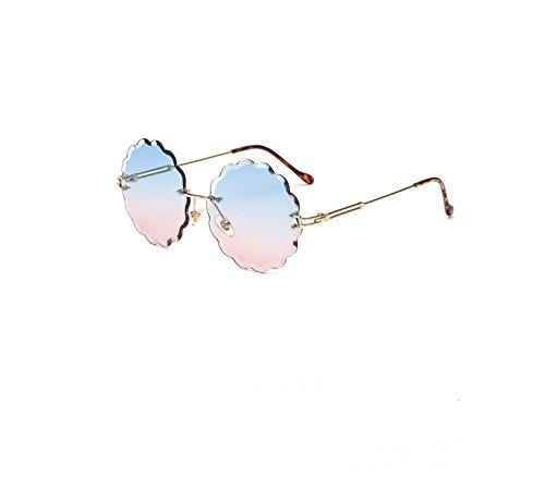 Huertuer Blume Form Randlos Diamant Schneiden Objektiv Shaded Gradient Sonnenbrille Metall Rahmen Brillen UV400