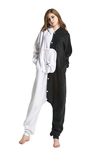 URVIP Erwachsene Unisex Jumpsuit Tier Cartoon Fasching Halloween Pyjama Kostüm Onesie Fleece-Overall Schlafanzug Schwarz und Weiß Bär ()