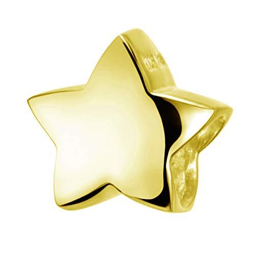 Materia Charms Anhänger Stern gold - Beads goldfarben - Kinder Damen Kettenanhänger gold vergoldet #627 (Beads Charm Gold)