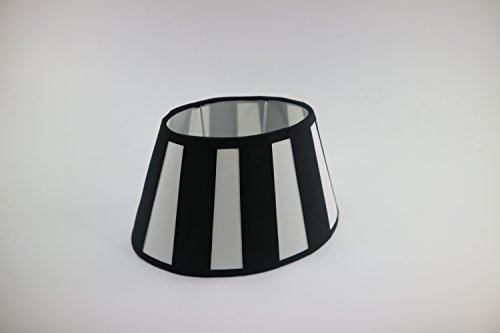 Lampenschirm-oval schwarz-weiss-gestreift konische Form Ø 25cm (15*25*16cm)