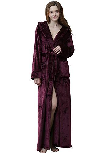ZAKASA Luxuriöse Full Length Kapuzen-Plüsch-Fleece-Robe der Frauen, Langer Bademantel - Fleece-roben Frauen Lange Für