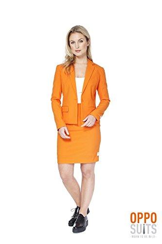 Foxy Miss Orange Damen Kostüm Opposuit Slimline 2-teilig Premium (Weibliche 70er Jahre Kostüme)