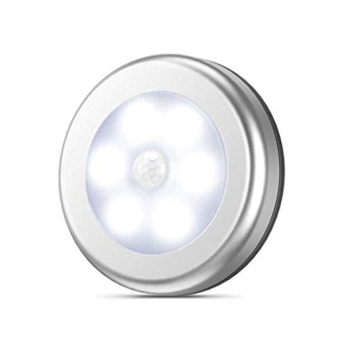 JCZR Induktionslampen-Schranklicht des Intelligenten LED-Lichtsteuerungs-menschlichen Körpers Runde Induktionslampe,Silver-PC-81x81x18(mm)