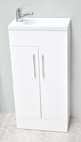 Zara White Square Basin Bathroom Furniture Cloakroom Compact Vanity Unit 400 X 220 + Tap