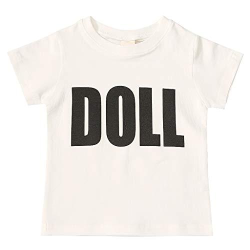 LEXUPE Kinder Baby Kind Mädchen Brief Drucken Kurzarm T-Shirt T Tops Kleidung(Schwarz,100)
