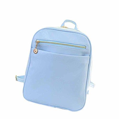 Borsa a tracolla, lo zaino , feiXIANG 2017 Ragazze Cuoio artificiale borse scuola di pelle zaino viaggio borsa donna spalla zaino , 24cm (L) * 30 (H) * 8cm (W) (Blu chiaro) Blu chiaro