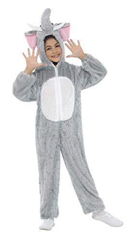 Smiffys Kinder Unisex Elefanten Kostüm, Jumpsuit mit Kapuze, Größe: M, 30020 (Kinder Elefanten Kostüme)
