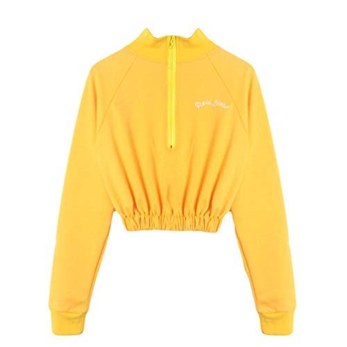 einhorn fleisch AmazingDays Damen Oberteile Langarm Einfarbig Bluse Elegant Pulli Tops T-Shirt Sweatshirt Zip Jacket Sport Casual Pullover Kurz (Gelb, S)