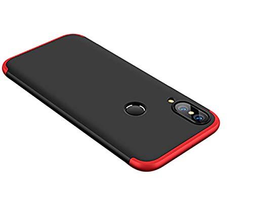 Huawei P20 Lite Hülle,360 Grad Ganzkörper Schutz 3 in 1 Handyhülle Hart Schrubben PC mit Plating Kappen Bumper Cover Hart PC Case für Huawei P20 Lite 2018 (Huawei P20 Lite, Rot+Schwarz)
